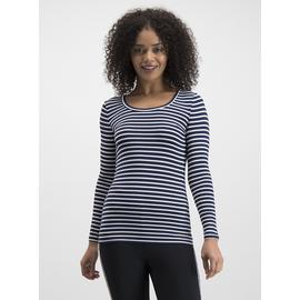 Heat Active Navy Stripe Long Sleeve Thermal Top