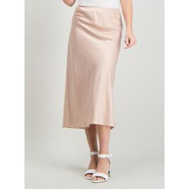 Online Exclusive Pale Pink Satin Midi Skirt