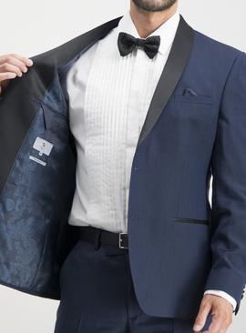 Navy Tailored Fit Tuxedo Jacket With Stretch