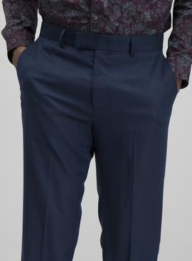 Navy Tailored Fit Tuxedo Trousers With Stretch