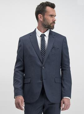 Blue Puppytooth Check Tailored Suit Jacket