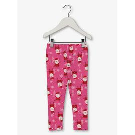 Christmas Pink Santa Print Leggings