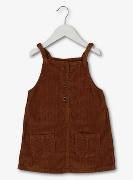 Brown Cord Pinafore Dress