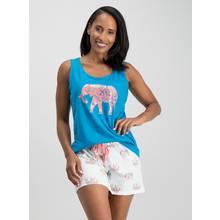 Turquoise & Cream Elephant Shortie Pyjama Set