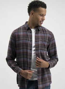 Dark Red Check Long Sleeve Regular Fit Shirt