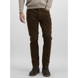 Tobacco Brown Slim Fit Corduroy Trousers With Stretch