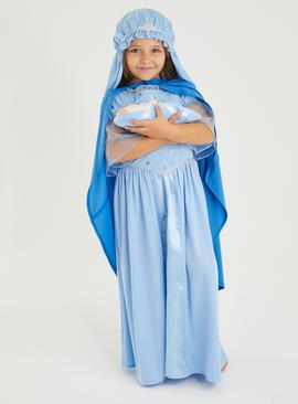 Christmas Nativity Blue Mary Costume Set - 9-10 years