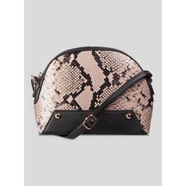 Black & Nude Pink Snake D-Shape Cross-Body Bag - One Size