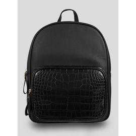 Black Faux Crocodile Pocket Backpack - One Size