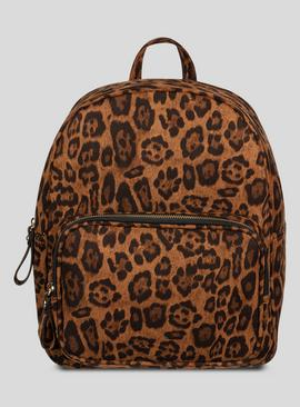 Online Exclusive Tan & Black Leopard Print Backpack - One Si