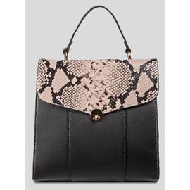 Online Exclusive Black & Nude Pink Snake Print Backpack - On