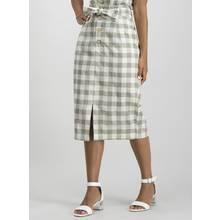 Khaki Gingham Belted Skirt