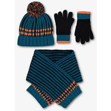 Teal Knitted Hat, Scarf & Gloves Set