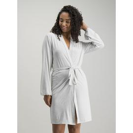 Grey Marl Lace Trim Jersey Robe