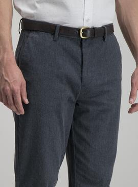 Navy Straight Leg Belted Chinos With Stretch