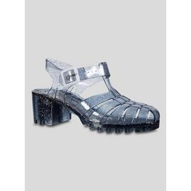 Spot On Grey Sparkly Jelly Heeled Sandal