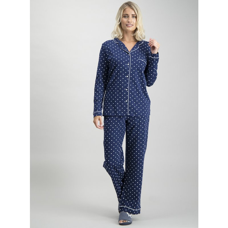 Navy Polka Dot Traditional Pyjamas from Argos