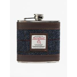 Harris Tweed Navy Hip Flask - One Size