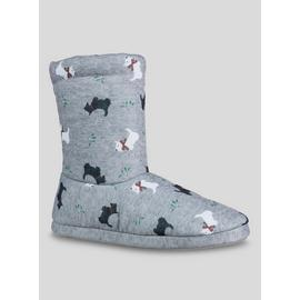 Grey Scottie Dog Boot Slippers