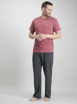 Online Exclusive Red Grandad Top & Charcoal Grey Pyjamas Set