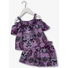 Purple Butterfly Print Top & Shorts 2 Piece Set