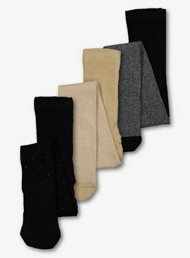 Black & Gold Glitter Supersoft Tights 3 Pack