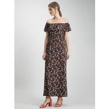 Black Ditsy Print Bardot Maxi Dress
