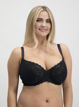 DD+ Black & White Jacquard Stripe Full Cup Bra 2 Pack