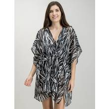 Monochrome Zebra Print Kaftan Cover-Up