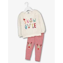 Christmas Cream & Red Top & Leggings Set