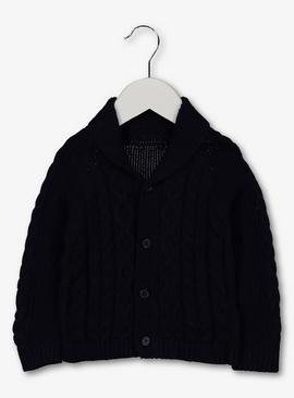 Navy Cable Knit Shawl Collar Cardigan