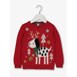 Christmas Red Dog Knitted Jumper