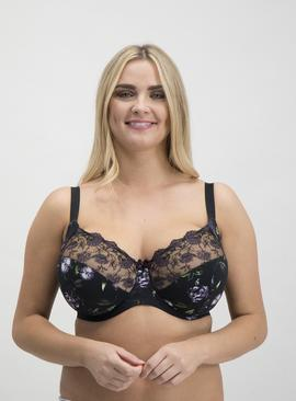 DD+ Black Floral Print & Embroidered Full Cup Bra