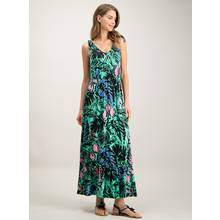 Green Riviera Floral Print Tiered Hem Maxi Dress