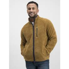 Tan Zip-Through Borg Fleece Jacket