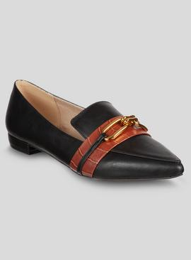 Black Pointed Snaffle Loafers