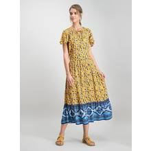 Dark Yellow Boho Mix Floral Print Midi Dress