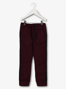 Dark Red Woven Side Stripe Taped Joggers