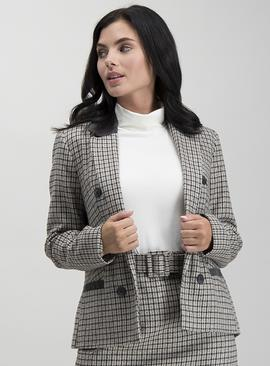 PETITE Multicoloured Check Hacking Jacket