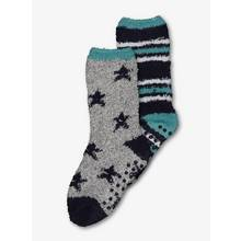 Blue & Grey Star & Stripe Cosy Sock 2 Pack