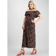 Online Exclusive PETITE Black Ditsy Print Bardot Maxi Dress