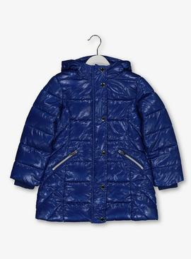 Online Exclusive Blue Shiny Padded Coat