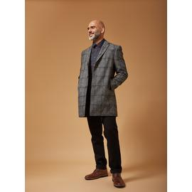 PREMIUM Charcoal Grey Prince Of Wales Check Slim Overcoat