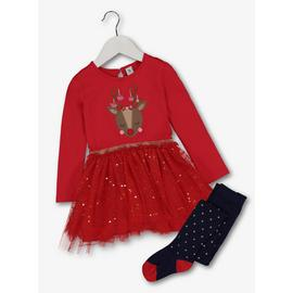 Christmas Red Reindeer Tutu Dress & Tights