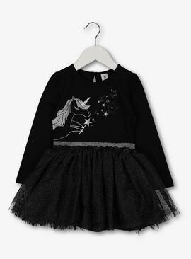 Halloween Black Unicorn Tutu Dress - 3-4 years
