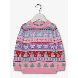 Christmas Pink Fair Isle Unicorn Jumper