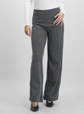 Grey Textured Wide Leg Jersey Trouser