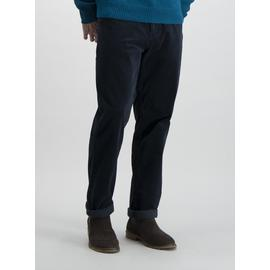 Blue Straight Fit 5 Pocket Jumbo Cord Trousers With Stretch