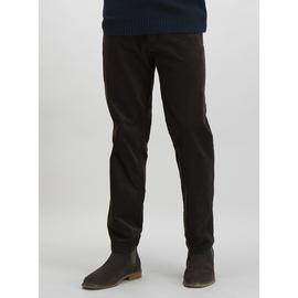 Brown Straight Fit Corduroy Trousers With Added Stretch