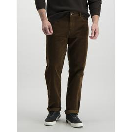 Tobacco Brown Straight Fit Corduroy Trousers With Stretch